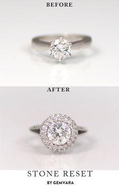 Anillo de compromiso de Diamante solitario convertido en halo, precioso. #AnillosDeCompromiso