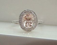 Oval Halo Peach Morganite Diamond Ring Gemstone Engagement Ring Wedding Pink Peach Blush Cushion Halo10K White Gold