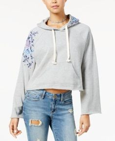 American Rag Juniors' Embroidered Hoodie, Created for Macy's - Gray XXL
