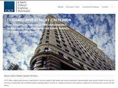 Cabot Street Capital Partners (CSCP) offers sophisticated investors opportunities to allocate capital to high quality real estate investments in predominantly urban growth markets across the US. Designed and implemented a WordPress website to showcase their business and services.
