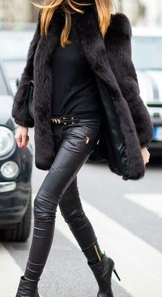 Long Furr Coat with Leather Tights