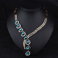Women's Rhinestone Necklace With Aquamarine Fashion Statement necklace choker necklace for women – CAD $ 27.79