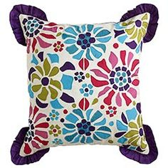 Just bought this to go with yellow pillows on my midnight blue quatrefoil bedding. Yellow Pillows, Cute Pillows, Throw Pillows, Peacock Blue Bedroom, Pier 1 Imports, Midnight Blue, Applique, Fun