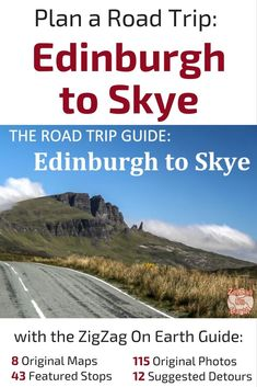 Need help planning your road trip to Scotland ? Limited in Time? Then you can drive from Edinburgh to the Isle of Slye on a magical trip. Discover the practical Travel Guide by ZigZag On Earth with Original Maps, the most Scenic locations and plenty of original pictures --- Scotland Travel - Scotland Trip - Scotland Guide - Scotland Travel Guide - Scotland Itinerary