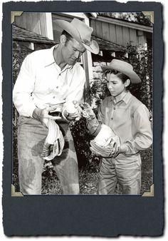 Chuck and Johnny playing ball on The Rifleman set.
