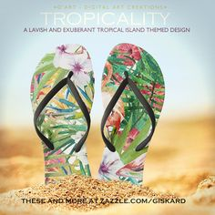 """TROPICALITY... """"A lavish and exuberant tropical island themed design"""" #flipflops #sandals #thongs #flippers, #footwear, #tropics, #tropical, #jungle, #palm, #leaves, #flowers, #orchids, #wilderness, #exotic, #exuberant, #island, #isle, #hawaii, #watercolor, #colorful, #summer, #hot, #vacation #zazzle #zazzler #zazzleshop #digitalarcreations"""