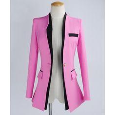 Buy Korea Color Block Asymmetrical Long Sleeve Blazer White/Pink China brand wholesale ($16.50) http://www.clubwholesale.net/women/blazers
