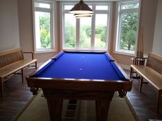 Nice Euro Blue Cloth On An Oak Pool Table