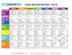 This is my meal plan for week one of 80 Day Obsession. I had to rework it a little bit since my workouts are so early in the morning, But I'm really excited to get started! Want to learn more about 80 Day Obsession? Need help with meal planning? Email me at sandirides@gmail.com! #dietmealplansweekly