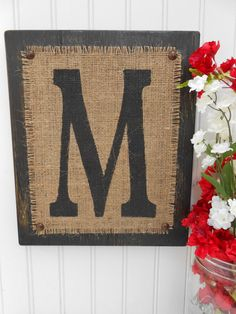 Burlap and Black wood Letter M, or other letter and color, Customizable monogram… Burlap Letter, Burlap Monogram, Wood Letters, Framed Burlap, Wood Crafts, Diy Crafts, Shabby Chic Christmas, Diy Projects To Try, Burlap Projects