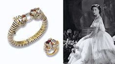 AN ENAMEL AND GEM-SET TIGER BANGLE AND RING  The black and white striped enamel bangle to the two tiger head terminals accented with diamonds, rubies and red enamel, and clasping a brilliant-cut diamond link between their teeth, ring en suite ~ from the Collection of H.R.H The Princess Margaret, Countess of Snowdon