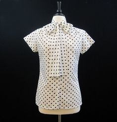 Vintage 70s Pussy Bow Blouse Brown White Polkadot by voguevintage