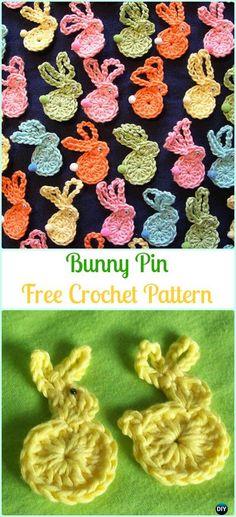 Crochet Bunny Pin Free Pattern-Crochet Bunny Applique Free Patterns