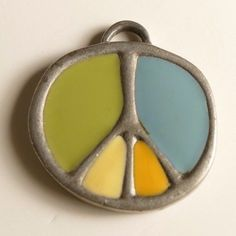 Life is Good Pendant Charm Peace Sign Silver Tone Enamel Round Green Blue Yellow #LifeisGood #Pendant