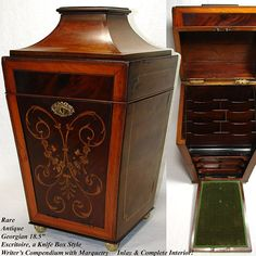 """Antique Georgian 18.5"""" Stationery Box, Knife Box Style with Marquetry Inlay & Complete Fitted Interior"""