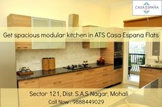 ATS Casa Espana offers luxury kitchen, combining elegance and functionality, blending granite countertops and marble flooring with stainless steel appliances!  To book your apartment, call at : 9888449029