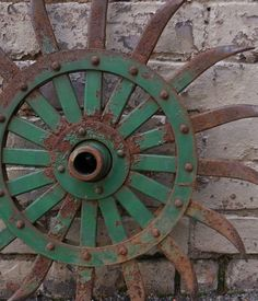 Vintage Hoe Wheel cultivator Green Farm equipment by SalvageRelics