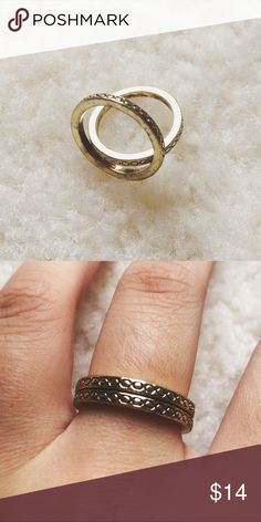 Vintage gold braided band rings ⋈ Two identical gold colored rings with a criss-cross pattern ⋈ Unknown metal. Rings are nickel free ⋈ Some minor discoloration ⋈ Price is negotiable! Vintage Jewelry Rings