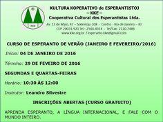 A Cooperativa Cultural Esperantista Convida para o Curso de Esperanto de Verão  (Janeiro e Fevereiro / 2016) - RJ - http://www.agendaespiritabrasil.com.br/2015/11/19/a-cooperativa-cultural-esperantista-convida-para-o-curso-de-esperanto-de-verao-janeiro-e-fevereiro-2016-rj/
