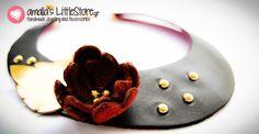 Handmade leather necklace @ littlestore.gr Leather Necklace, Handmade Leather, Panna Cotta, Ethnic Recipes, Collection, Food, Leather Collar, Dulce De Leche, Essen