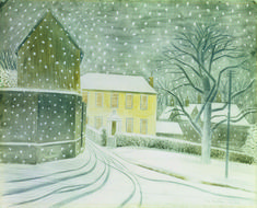 """englishmodernism: """"Eric Ravilious Halstead Road in the snow. I wish it would snow! David Hockney, Charity Christmas Cards, Xmas Cards, Winter Szenen, Winter Magic, Magic Realism, Snow Scenes, A4 Poster, Poster Prints"""