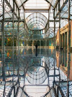One of my favorite places in Madrid! The Crystal Palace, Madrid, Spain. The Crystal Palace, Crystal Palace Madrid, Crystal Castle, The Places Youll Go, Places To See, Foto Madrid, Le Palais, Beautiful Architecture, Beautiful Buildings