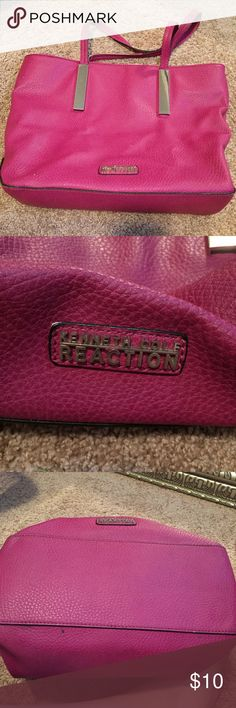 Kenneth Cole Reaction Magenta Large Purse Kenneth Cole Reaction Magenta Large Purse! Amazingly fun purse. It was well loved and there is some wear - pen stain in interior and color is altered around the edge and straps are worn as well - all pictured. But everything is still intact and it's definitely still got life! I tried to have the price reflect the wear! 👛💖 Kenneth Cole Reaction Bags Shoulder Bags