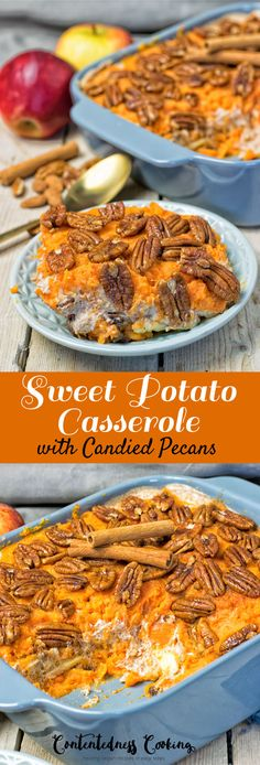 Sweet Potato Casserole - Contentedness Cooking Try my Sweet Potato Casserole with Candied Pecans – it's vegan and gluten free, and comes with an amazing filling of apples and almond sauce. Made with just 6 ingredients in 3 easy steps. Vegan Dinner Recipes, Vegan Recipes Easy, Whole Food Recipes, Vegetarian Recipes, Cooking Recipes, Kidney Recipes, Simple Recipes, Vegan Thanksgiving, Vegan Christmas