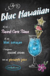 "Want a metal print copy?: Visit Store Description: Chalkboard Bar Cocktails Blue Hawaiian artwork by artist ""Joan Derpp"". Blue Hawaiian Cocktail, Hawaiian Cocktails, Summer Cocktails, Cocktail Drinks, Vodka Cocktails, Easy Cocktails, Martinis, Vodka Martini, Mixed Drinks Alcohol"