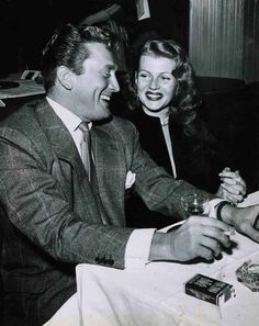 Kirk Douglas And Rita Hayworth At Ciro's Nightclub in Hollywood