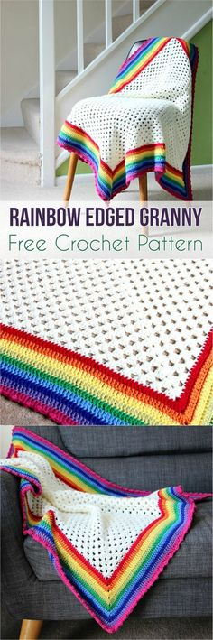 Rainbow Edged Granny Free Crochet Pattern - suggest doing cream or white (fewer holes) and then adding rainbow border Crochet Crafts, Crochet Yarn, Crochet Projects, Free Crochet, Crochet Top, Rainbow Crochet, Crochet Granny, Baby Blanket Crochet, Crochet Blankets
