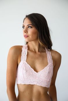 308f2d149f Free People Pink Galloon Lace Racerback Bralette - Luca + Grae