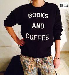Boeken en koffie sweatshirt zwart crewneck voor womens meisjes geek ontspannen