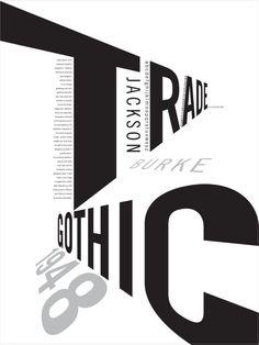affiche d'exposition de Jackson Burke, trade gothic affiche blanche Typographie simple, noir et gris - travaille autour des points de fuite Typo Poster, Poster Fonts, Typographic Poster, Poster Layout, Poster Print, Web Design, Layout Design, Icon Design, Web Layout