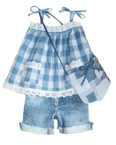 Lindsey Berns #kids blue picnic checked sun dress Toddler Fashion, Toddler Outfits, Kids Outfits, Kids Fashion, Little Girl Dresses, Girls Dresses, Frock Fashion, Baby Dress Patterns, Clothing Labels