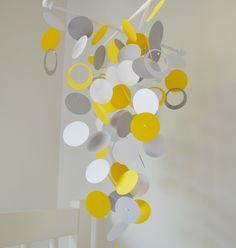 Yellow, Gray and White Handmade Baby Mobile  - Medium