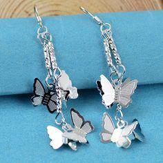 Специальные мероприятия закончится в недоумении о $ 0.99 Бесплатная доставка стерлингового серебра способа 925 Двухместный бабочки серебряны...