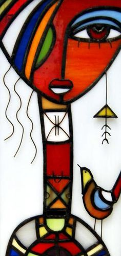 Lámpara de sobremesa - artesanum com Fall Canvas Painting, Fabric Painting, Canvas Wall Art, Portraits Cubistes, Abstract Face Art, Cubist Art, Fused Glass Art, Colorful Paintings, African Art