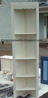 repurposed door into a corner shelf