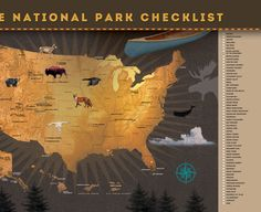 National Parks Map 12w X 18h Poster. Ready to use.   ▲▲▲▲▲▲▲▲▲▲▲▲▲▲▲▲▲▲▲▲▲▲▲▲▲▲▲▲▲▲▲▲▲▲▲▲  This unique national park checklist poster is highly detailed and available with your choice of eight background color options that can surely compliment your home decor. Not too big and not too small, this 18W X 12H national park map is a great size to display on your wall or shelf!  Yellowstone! Redwood! Acadia! Zion...! Record a national park memory! Each one of our great 59 national parks are…
