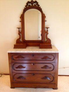 Victorian Walnut Marble Top Dresser W Mirror