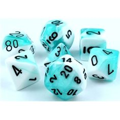 RPG Dice Set (Gemini Aqua and White) role playing game dice