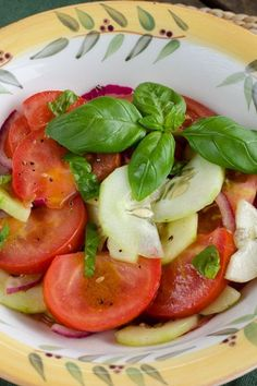 Easy Tomato Cucumber Salad - perfect side dish for any barbecue or get-together!