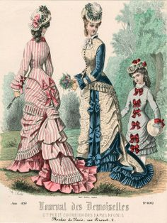 Something cheery for your January morning - 1876 August Journal des Demoiselles - the pink stripe would look darling in a fine cotton dimity/shirting or lightweight linen.