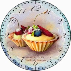 Clock face (for the sweet tooth! Cupcakes, Clock Face Printable, Old Clocks, Diy Clock, Decoupage Paper, Tole Painting, Vintage Labels, Free Prints, Oeuvre D'art