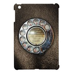Retro Rotary Phone Dial On Vintage Brown Leather iPad Mini Cases