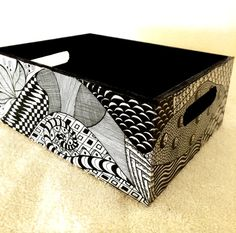 Zentangle Inspired Art   Wooden box / Tray  Black and por DotsMania, $30.00