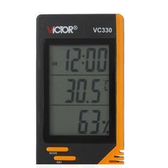 Vc330 Digital Lcd Indoor Thermometer Hygrometer Clock Humidity Meter. Description :  VC330 Digital LCD Indoor Thermometer Hygrometer Clock Humidity Meter  Features :  1. 12-hour / 24-hour displaying modes for selection 2. This LCD hygrometer thermometer can display temperature, humidity and time simultaneously 3. Desktop placing or wall hanging 4. It has integral-hour alarm function 5. It is ideal for constantly monitoring labs, fume hoods, walk-ins, plant areas, and storage facilities 6. It…