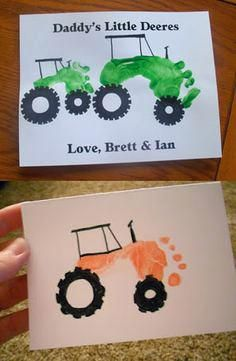 Mothers Day Gift Ideas : fathers day crafts for kids Footprint Art, Craft Activities, Preschool Crafts, Diy For Kids, Gifts For Kids, Daddy Day, Handprint Art, Farm Theme, Crafts