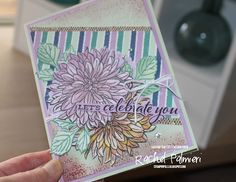 Stampin' Pals #rachelpalmieri #stampinup #handmadecards #caseingthecatty #delicatedahlias #saleabration Lets Celebrate, Stampinup, Specialty Paper, Step Up, Business Supplies, Starter Kit, Dark Colors, Catalog, Make Your Own